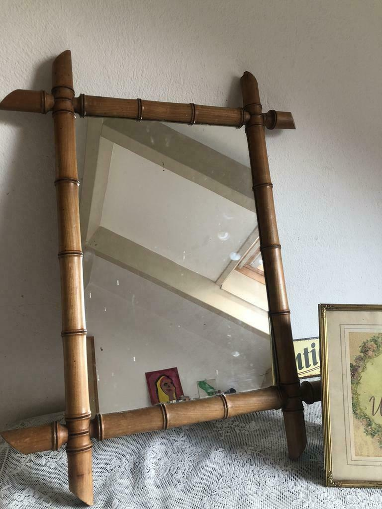 Vondst: Franse spiegel met faux bamboe lijst