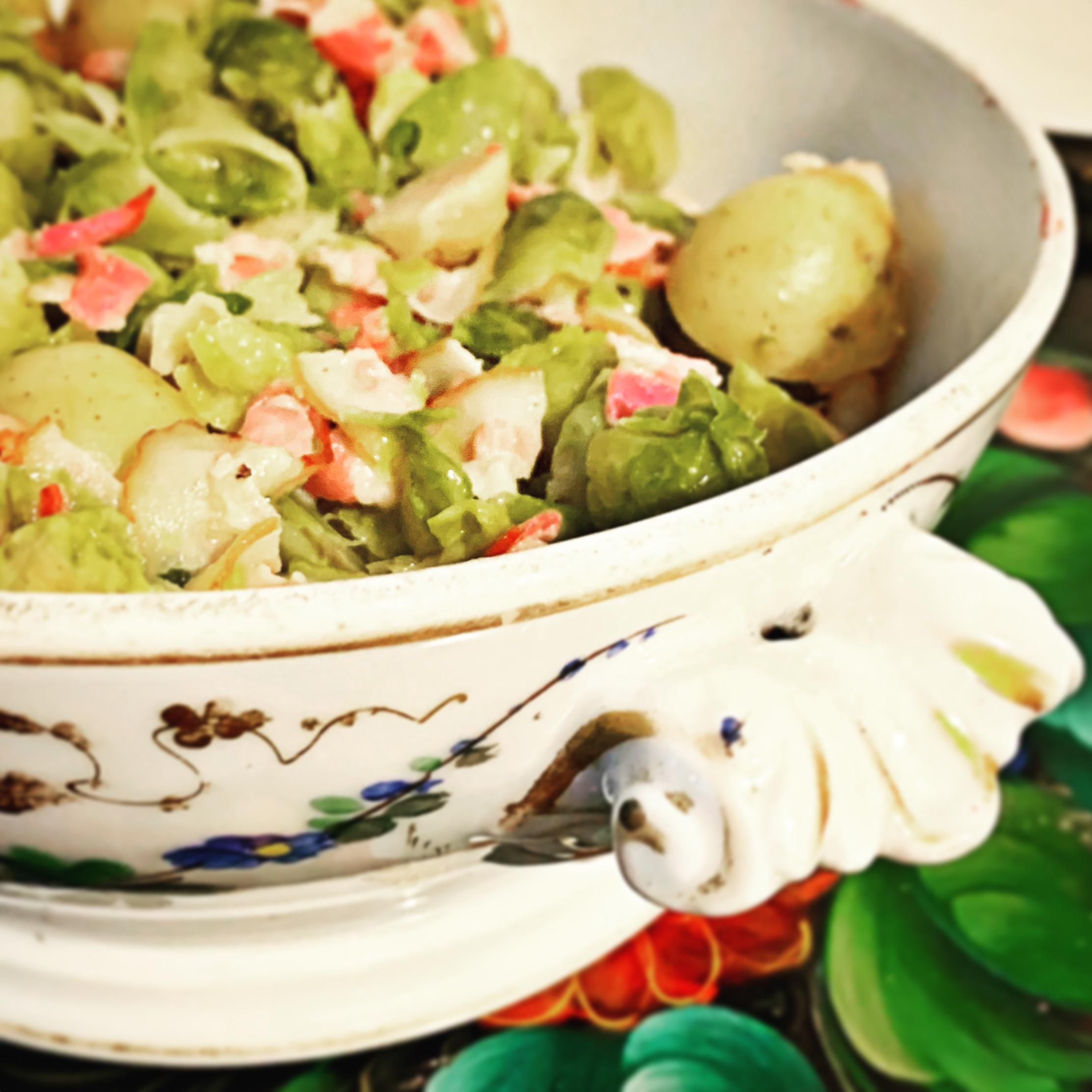 Recept: snelle doordeweekse schotel met spruitjes, krieltjes en ontbijtspek